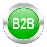 B2b green circle chrome web icon isolated. Stock Illustration