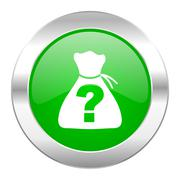 Riddle green circle chrome web icon isolated. Stock Illustration