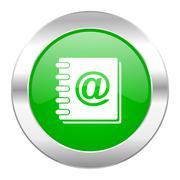 address book green circle chrome web icon isolated. - stock illustration