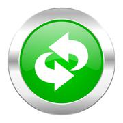 rotation green circle chrome web icon isolated. - stock illustration