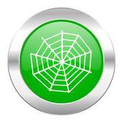 spider web green circle chrome web icon isolated. - stock illustration
