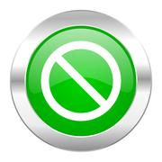 Access denied green circle chrome web icon isolated. Stock Illustration