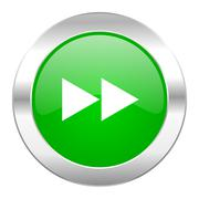 Stock Illustration of rewind green circle chrome web icon isolated.