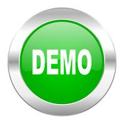demo green circle chrome web icon isolated. - stock illustration