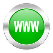www green circle chrome web icon isolated. - stock illustration