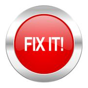 fix it red circle chrome web icon isolated. - stock illustration