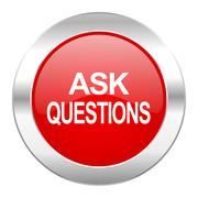 ask questions red circle chrome web icon isolated. - stock illustration