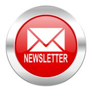 Newsletter red circle chrome web icon isolated. Stock Illustration