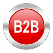B2b red circle chrome web icon isolated. Stock Illustration