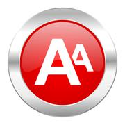 alphabet red circle chrome web icon isolated. - stock illustration