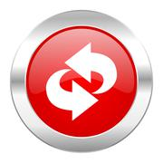 rotation red circle chrome web icon isolated. - stock illustration