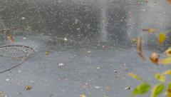 Hail and rain storm with wind blowing in residential neighborhood Stock Footage