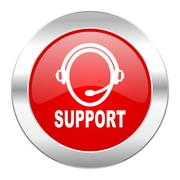 Support red circle chrome web icon isolated. Stock Illustration