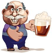 Senior man with beer Stock Illustration