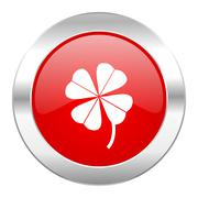 four-leaf clover red circle chrome web icon isolated. - stock illustration