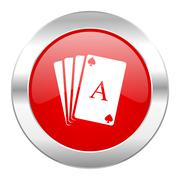 Card red circle chrome web icon isolated. Stock Illustration