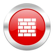 Firewall red circle chrome web icon isolated. Stock Illustration