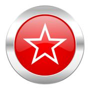 Star red circle chrome web icon isolated. Stock Illustration
