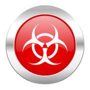 Biohazard red circle chrome web icon isolated. Stock Illustration