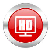 Stock Illustration of hd display red circle chrome web icon isolated.