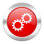 gear red circle chrome web icon isolated. - stock illustration