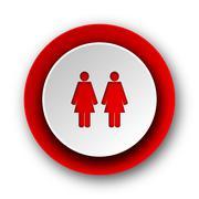 couple red modern web icon on white background. - stock illustration