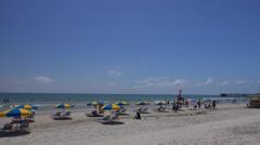Umbrellas along Daytona Beach looking south Stock Footage