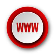 Stock Illustration of www red modern web icon on white background.