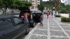 The sidewalk in Guaruja, Sao Paulo, Brazil. Stock Footage