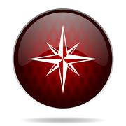 compass red glossy web icon on white background. - stock illustration