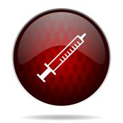 Medicine red glossy web icon on white background. Stock Illustration