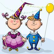 Children in fancy dresses Stock Illustration