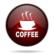 espresso red glossy web icon on white background. - stock illustration