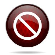 Access denied red glossy web icon on white background. Stock Illustration