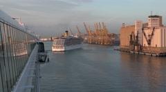 Barcelona Spain cruise ship leaving port 4K 009 Stock Footage