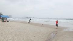 People enjoying the beach in Guaruja, Sao Paulo. Stock Footage
