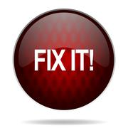 fix it red glossy web icon on white background. - stock illustration