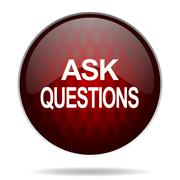 Ask questions red glossy web icon on white background. Stock Illustration