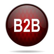 b2b red glossy web icon on white background. - stock illustration
