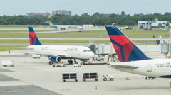 Delta Airlines Airplanes at New Orleans Airport MSY Stock Footage