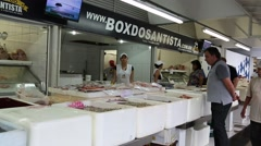 The famous Sea Food Market in Santos, Sao Paulo, Brazil Stock Footage