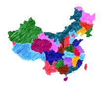Administrative map of China isolated on white - stock illustration