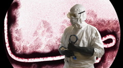 Ebola doctor in front of a microscope view of the ebola virus Stock Footage