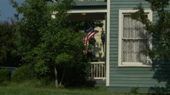 American Flag and Historic Home Porch Side Stock Footage