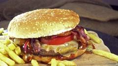 Big cheeseburger (seamless loopable) Stock Footage