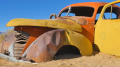 Old rusty car abandoned desert Stock Footage