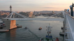 Barcelona Spain Port bridge city 4K 008 Stock Footage