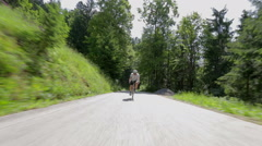 Very fast cyclist driving Stock Footage