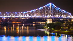 Brisbane Story bridge at night time lapse 4K PAL Stock Footage