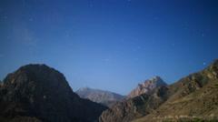 Stars over the mountains. Iskanderkul. Tajikistan. Time Lapse. 1280x720 Stock Footage